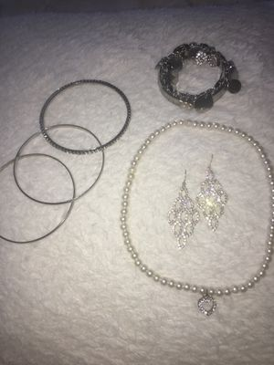 Silver Jewelry Set (Bracelets, Diamond Earrings, Pearl Necklace with Diamond Charm) for Sale in Wolcott, CT