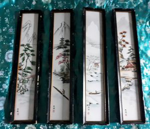 Antique Japanese Hand Painted Tiles - Set of Four (4) for Sale in Colorado Springs, CO