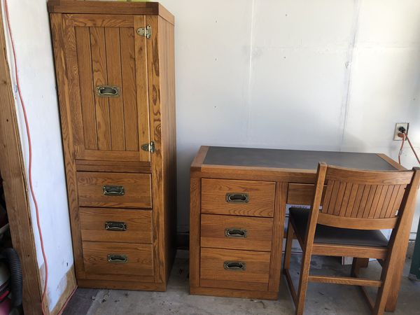 Tall chest , writing desk and chair