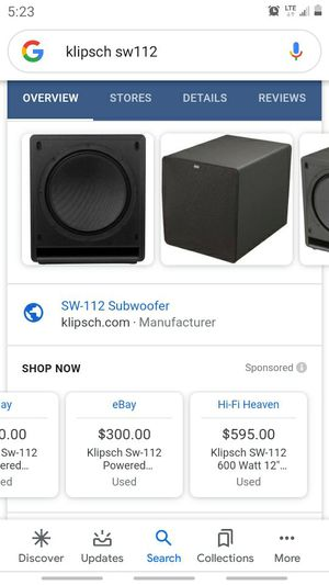 Klipsch sw112 600watt subwoofer for Sale in Portland, OR