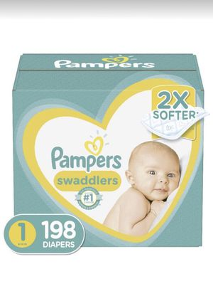 Diapers Newborn/Size 1 (8-14 lb), 198 Count - Pampers Swaddlers Disposable Baby Diapers, ONE MONTH SUPPLY for Sale in Rancho Cucamonga, CA