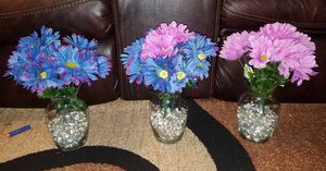 NEW FLOWER'S, VASES, AND GLASS BEADS $27 FOR THE SET for Sale in St. Louis, MO