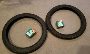 Two new Duro 20 x 2.125 diamond pattern bicycle tires and tubes black for Sale in La Habra, CA