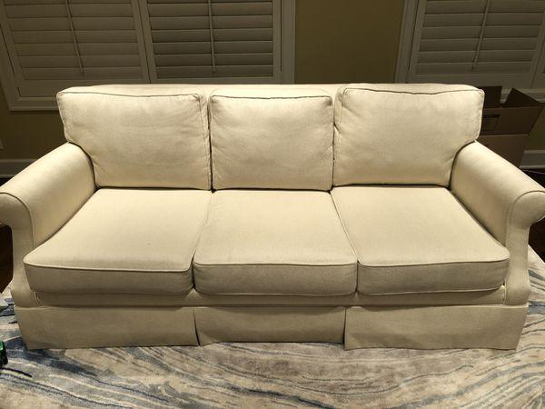 Ethan Allen White upholstered sofa