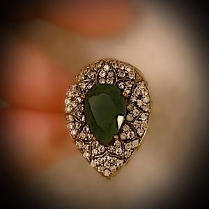 EMERALD FINE ART DINNER RING Size 8.5 Solid 925 Sterling Silver/Gold WOW! Brilliantly Faceted Pear Cut Gemstone, Diamond Topaz L9601 V for Sale in San Diego, CA