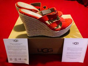 BRAND NEW IN BOX!! Red Suede Leather UGG Wedges for Sale in Las Vegas, NV