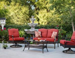 New!! Patio set, cushioned coffee table patio set, coffee table patio set, outdoor conversation set, chat set, patio furniture, red for Sale in Phoenix, AZ