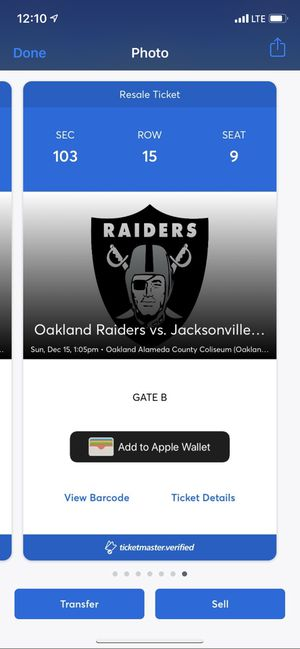 Two Black hole tickets - Last Oakland Raiders home gane ever for Sale in Fresno, CA