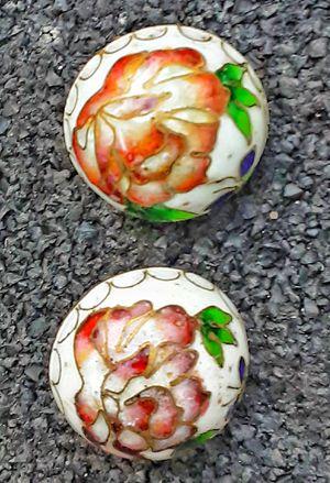 "Vintage real metal CLOISONNE EARRINGS poppy or peony flowers CLASP BACKS 1""D for Sale in Saginaw, MI"