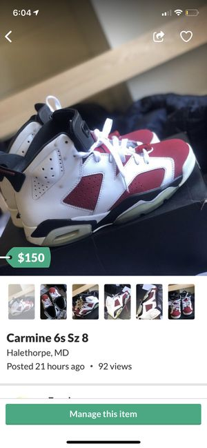 Carmine 6s Sz 8 for Sale in Catonsville, MD