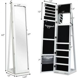 Mirrored Lockable Standing Jewelry Storage Organizer-White Retail 169.95 My price 140.00 for Sale in Fontana,  CA