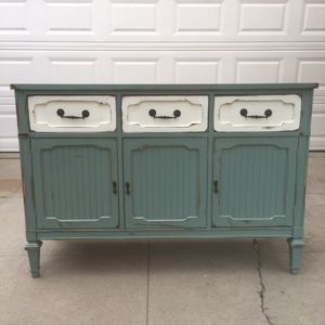 Awesome shabby distressed cabinet drawer shelf buffet credenza for Sale in San Diego, CA