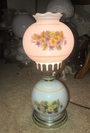 """14"""" Antique Fenton Hand-Painted Wildflowers on Opalescent Light Blue Milk Glass with Scalloped Rim on Pedestal Hedco GWTW HURRICANE LAMP for Sale in Plainfield, IL"""