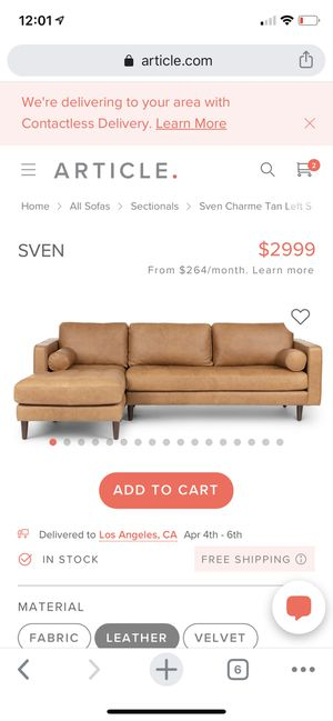 ARTICLE SVEN Left Sectional LIKE NEW!! for Sale in Los Angeles, CA