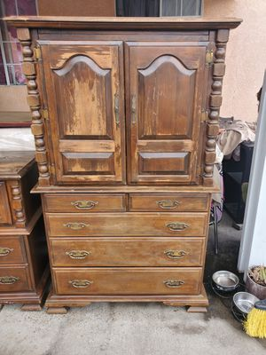 Vintage armoire dresser on wheels for Sale in West Covina, CA