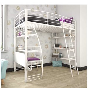 Loft Bunk Bed Over Desk And Book Shelf Book Case Metal Frame White Twin for Sale in Duvall, WA