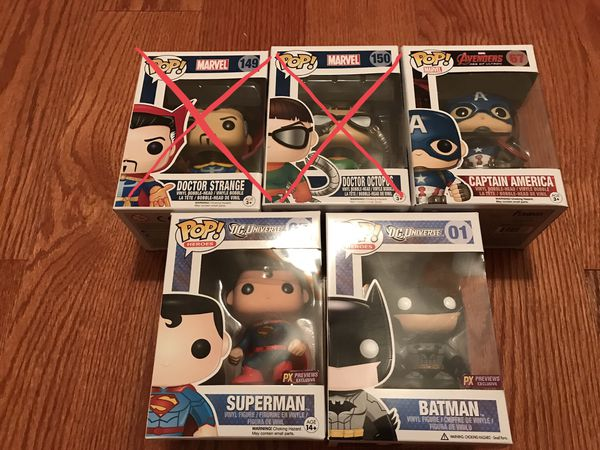 Funko Pops Captain America, Superman, Batman