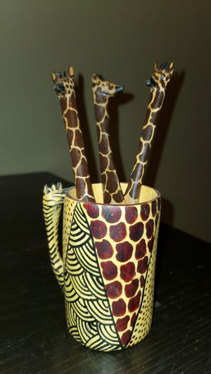 Giraffe Wooden Utensils and Cup for Sale in Joliet, IL