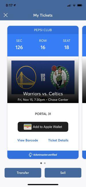 2 Warriors vs Celtics tickets for Sale in Piedmont, CA
