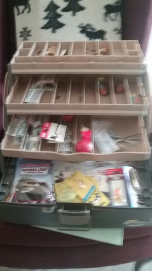 Fishing tackle box with lures hooks and sinkers for Sale in Show Low, AZ