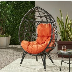 Outdoor Indoor Wicker Teardrop Chair with Orange Cushion for Sale in Rowland Heights, CA