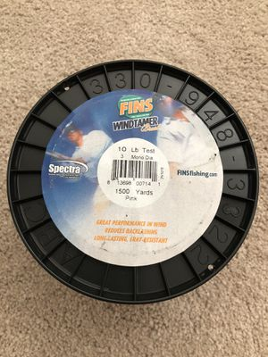 Fins Windtamer 1500yd 10lb Braided Fishing Line for Sale in Irvine, CA