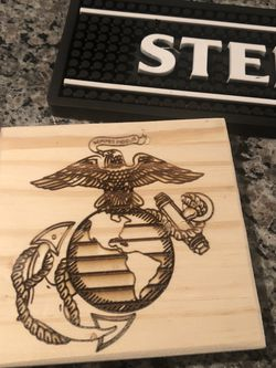 Hand cut Coaster With a Laser Engraved EGA for Sale in Chicago,  IL