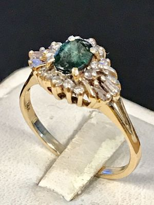 Emerald and diamond gold ring for Sale in Riverview, MI