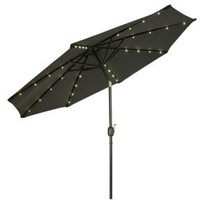 New in box large 10 feet diameter tilt adjustable crank open outdoor patio umbrella with solar powered LED lights waterproof sun shade canopy for Sale in Covina, CA