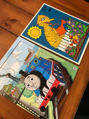 Two vintage wooden playschool puzzles - Thomas the train and big bird Sesame Street. Preschool. Home school. for Sale in Buckeye, AZ