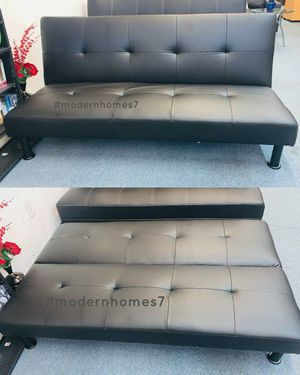 Black leather sofa bed sleeper couch futon for Sale in Buena Park, CA