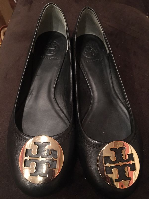 Tory Burch Black Leather Flats