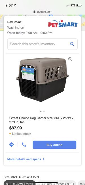 """Great choice dog carrier 36""""x25""""x 27"""", tan - + food & water bowl holders + brand new fasteners for Sale in Washington, DC"""
