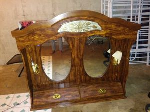 Brown wooden vanity dresser with mirrors for Sale in St. Louis, MO