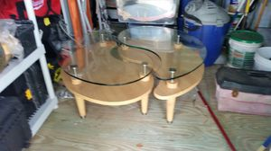 2 modern glass and wood end tables for Sale in Hialeah, FL