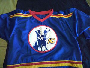 New Kansas city scouts hockey jersey all numbers and letters are sewn on excellent condition size large for Sale in Cleveland, OH