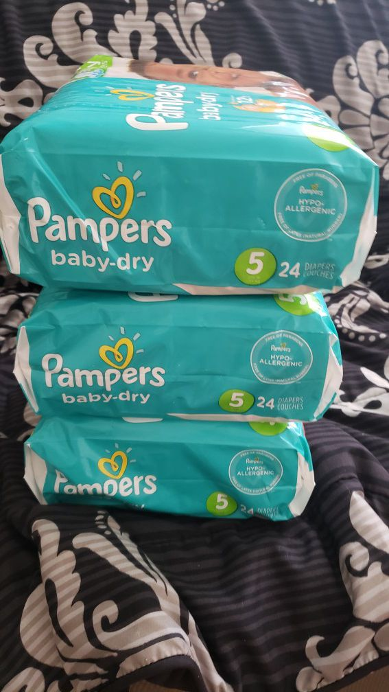 3 PACKAGES DIAPERS PAMPERS BABY DRY SIZE 5