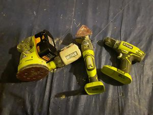 3 ryobi cordless 18v one+ tools with one battery and charger for Sale in Lynnwood, WA