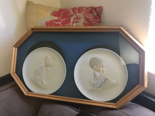 Vintage frame double plates precious moments