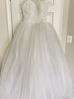 Princess Style Wedding White Dress With Veil for Sale in White Plains,  MD