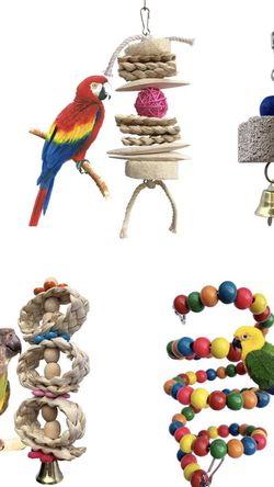 Tu Bird Toys for Parrots - 5 Pack Bird Perch Ladder Hanging Chew Toys Colorful Parrot Toys Bird Cage Accessories for Cockatiel Parakeet Macaw Parrotle for Sale in Newport Beach,  CA