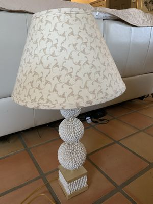 """Beautiful, new condition seashell table lamp with designer shade, 32"""" tall. $25 for Sale in La Quinta, CA"""