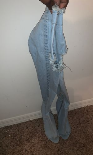 Distressed denim thigh high boots for Sale in Orlando, FL