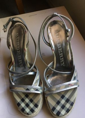 Burberry espadrilles silver sandals size 38 for Sale in Austin, TX