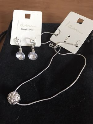 Crystal Dangling Earrings And Silver Necklace Set for Sale in Methuen, MA