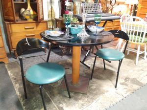 Black round cast iron base kitchen table + 2 chairs for sale for Sale in St. Louis, MO