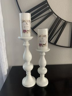 Two White Candle Holder With Candles !!!( New) for Sale in Vancouver,  WA