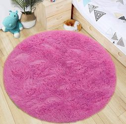 Brand New | Luxury Round Fluffy Area Rugs for Bedroom Kids Nursery Rug Super Soft Living Room Home Shaggy Carpet 4-Feet, Hot Pink for Sale in Towson,  MD