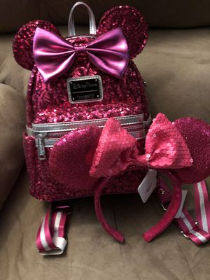 Minnie Mouse Sequin Mini Backpack by Loungefly - Imagination Pink with matching ears for Sale in Las Vegas, NV