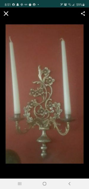 2 Antique Brass Candle Sconces for Sale in Dania Beach, FL
